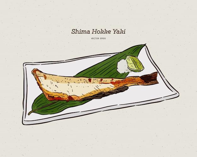 Op houtskool gegrilde atka makreel (shima hokke) japanse keuken met citroen op witte schotel. hand tekenen schets.