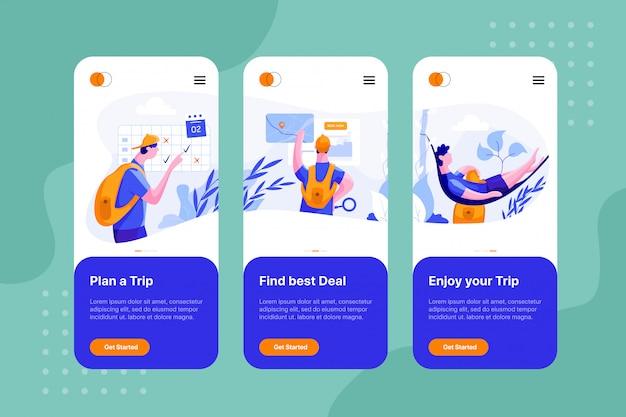 Op instapschermen voor de booking travel-app
