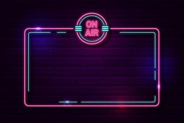 Op lucht neon frame sjabloon
