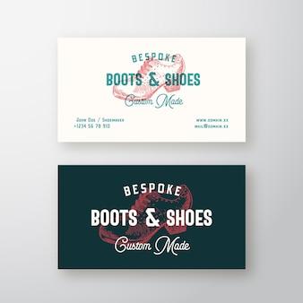 Op maat gemaakte laarzen retro teken, symbool of logo en visitekaartje