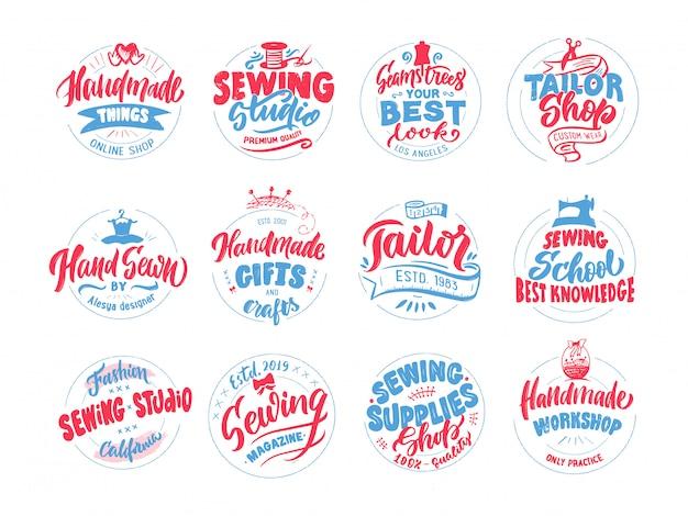Op maat, naaien, handgemaakt logo, emblemen, etiketten, zinnen, postzegelverzameling. vector illustratie zwarte set.