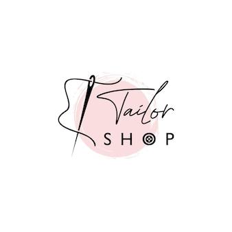 Op maat winkel logo belettering stijl met naald vector sjabloon