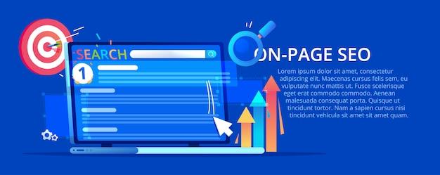 Op pagina banner. een laptop met zoekrangschikking en een website op de eerste plaats.