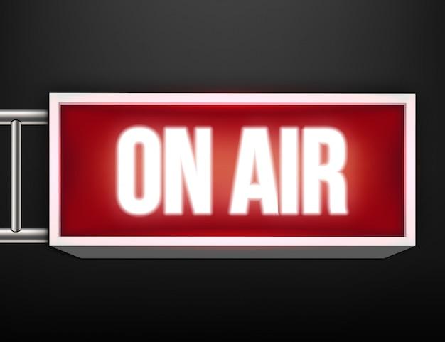 Op tv live gloeiende tv, radiozender, uitzending.