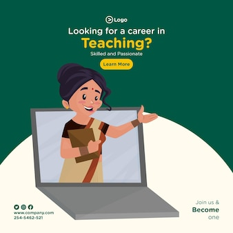 Op zoek naar een carrière in het lesgeven van bannerontwerp in cartoonstijl
