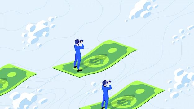 Op zoek naar geld. isometrische zakenman op zoek naar geld met verrekijker.