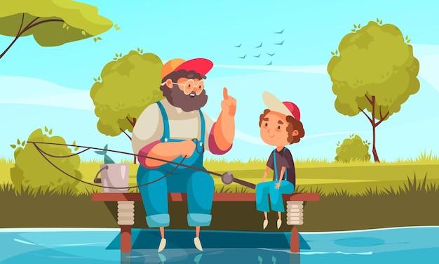 Opa en kleinzoon vissen illustratie met tijdverdrijf