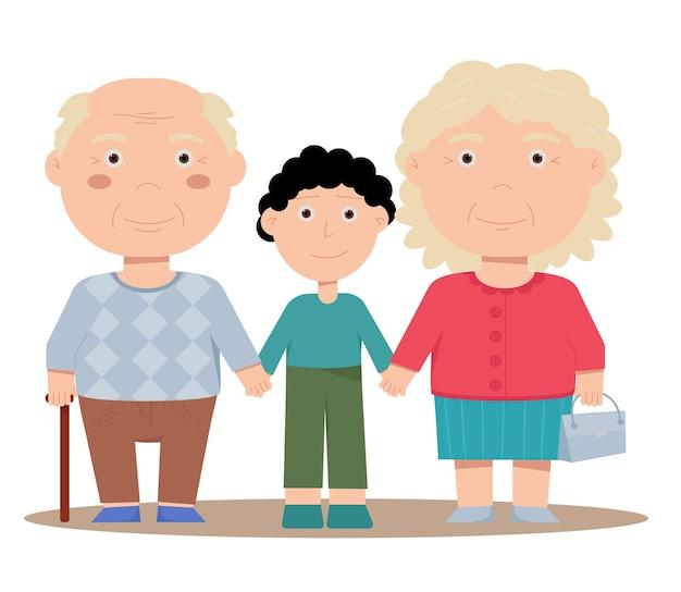 Opa en oma houden een kleinzoon bij de hand