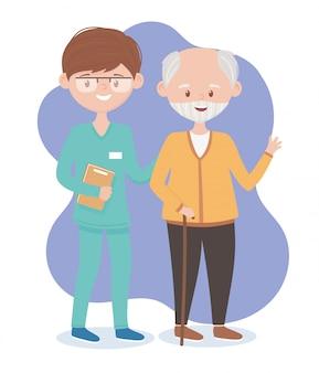 Opa en verpleegkundig mannelijk personeel, artsen en ouderen