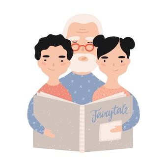 Opa leesboek met kleinkinderen. grootvader vertelt sprookjes aan zijn kleinzoon en kleindochter. portret van bejaarde grootouder en kleinkinderen. illustratie in platte cartoon stijl.