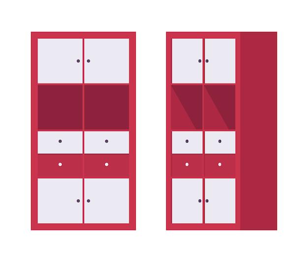 Opbergkast kantoor in rood