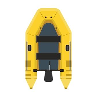 Opblaasboot bovenaanzicht. geel de rivierschip van de waterreis