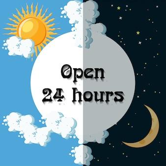 Open 24 uur teken