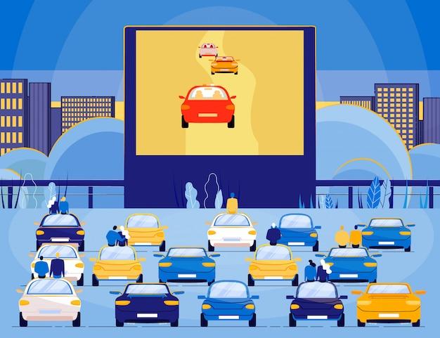 Open auto bioscoop theater in stad nacht landschap.