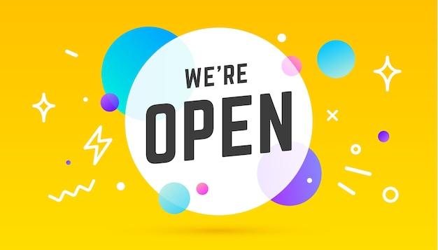 Open. banner, tekstballon, poster en sticker concept, geometrische stijl met tekst we are open