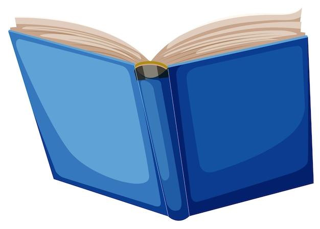 Open blauw boek op wit