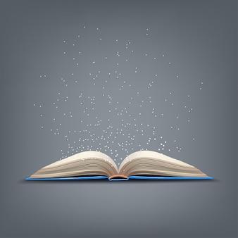 Open blauw boek