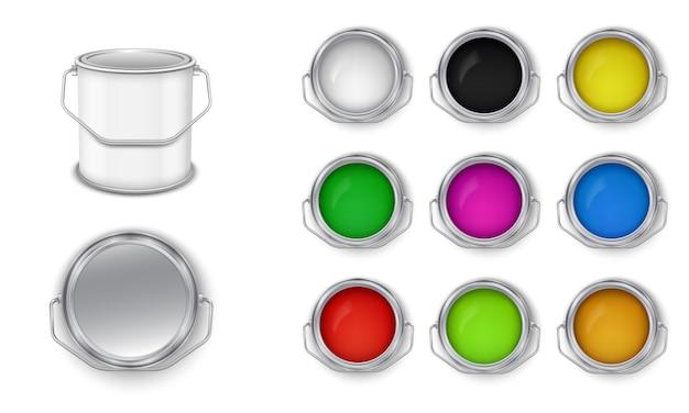 Open blikjes met het bouwen van verf veelkleurige vector set. vooraanzicht.