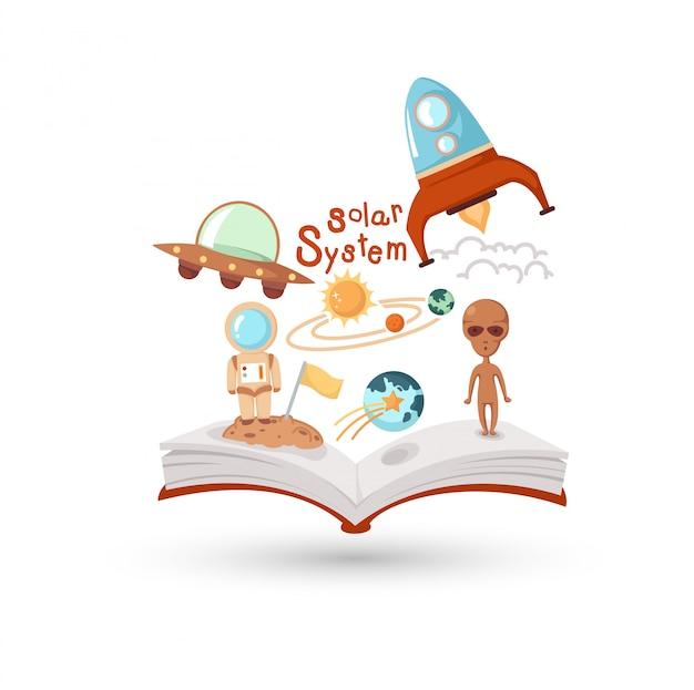 Open boek en iconen van de wetenschap