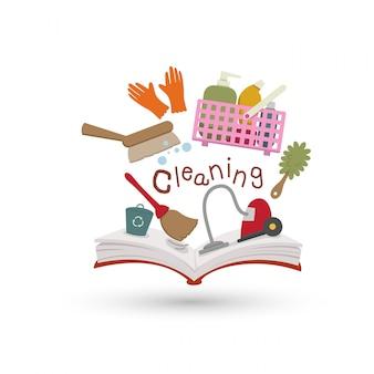 Open boek en iconen van schoonmaken. concept van het onderwijs