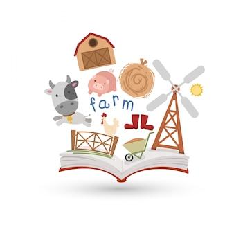 Open boek en pictogrammen van moestuin