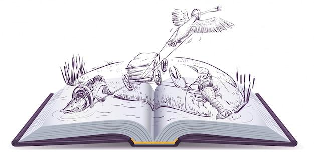 Open boek fabel van zwanen snoek en langoesten