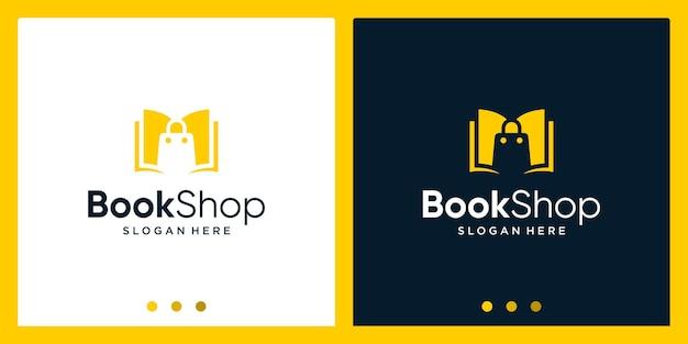 Open boek logo ontwerp inspiratie met boodschappentas ontwerp logo. premium vector
