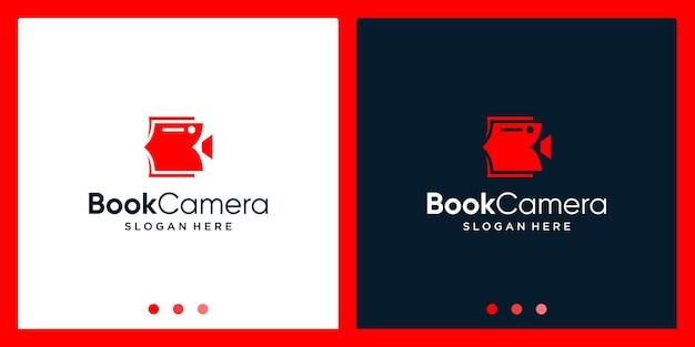 Open boek logo ontwerp inspiratie met camera video ontwerp logo. premium vector