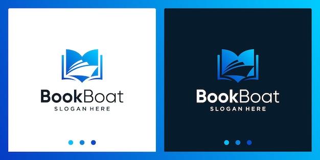 Open boek logo-ontwerpinspiratie met bootontwerplogo. premium vector