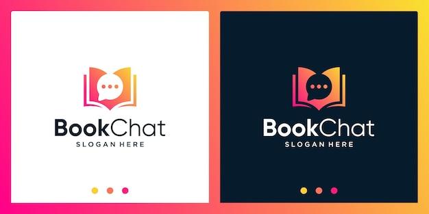 Open boek logo-ontwerpinspiratie met chat-ontwerplogo. premium vector