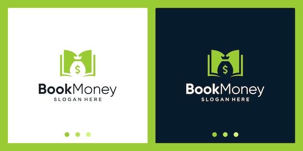 Open boek logo-ontwerpinspiratie met geldontwerplogo. premium vector