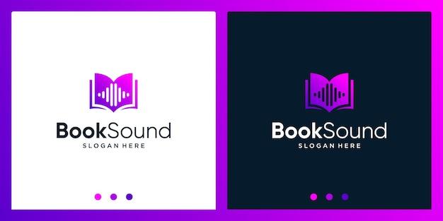 Open boek logo-ontwerpinspiratie met geluidsgolfontwerplogo. premium vector