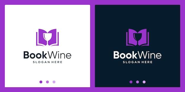 Open boek logo-ontwerpinspiratie met glasontwerplogo. premium vector