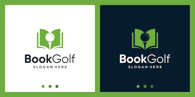 Open boek logo-ontwerpinspiratie met golfontwerplogo. premium vector