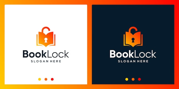Open boek logo-ontwerpinspiratie met hangslotontwerplogo. premium vector