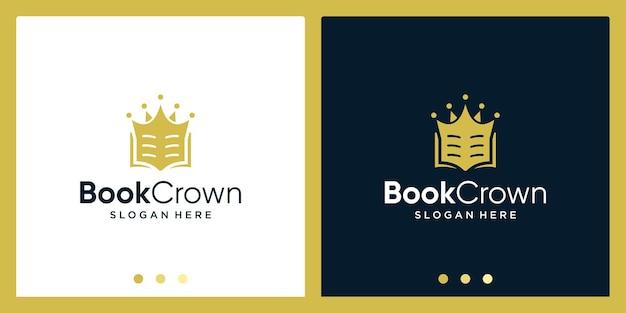 Open boek logo-ontwerpinspiratie met kroonontwerplogo. premium vector