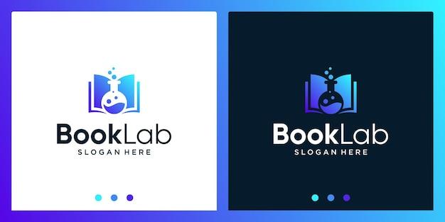 Open boek logo-ontwerpinspiratie met laboratoriumflesontwerplogo. premium vector