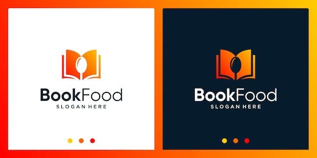 Open boek logo-ontwerpinspiratie met lepelontwerplogo. premium vector