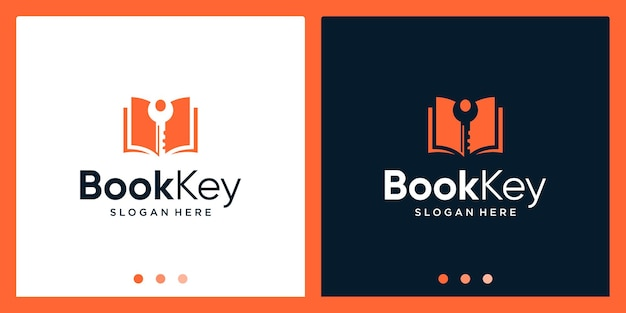 Open boek logo-ontwerpinspiratie met sleutelontwerplogo. premium vector