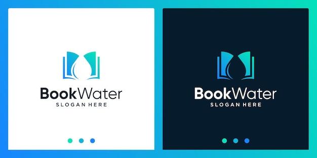 Open boek logo-ontwerpinspiratie met waterontwerplogo. premium vector
