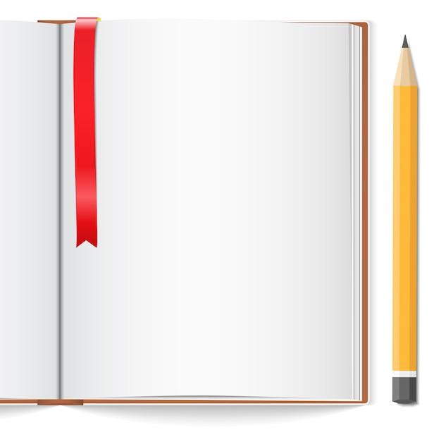 Open boek met bladwijzer en potlood
