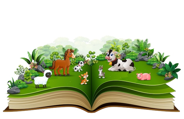Open boek met cartoon van dierenboerderij in het park