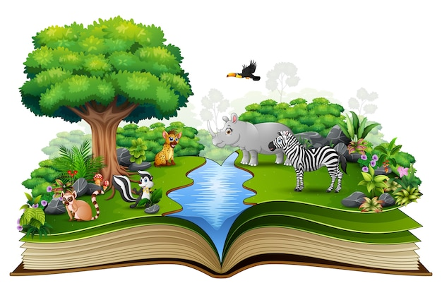 Open boek met de dierlijke cartoon die in de rivier speelt
