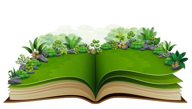 Open boek met groene plant van aardachtergrond