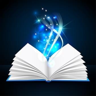 Open boek met mystiek helder licht op donkere achtergrond. magische poster illustratie
