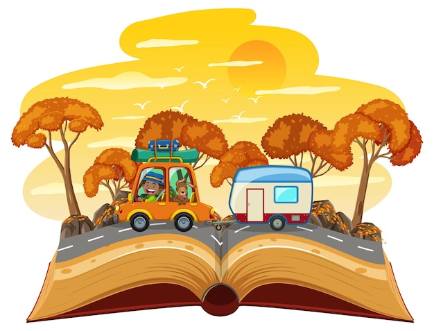 Open boek met reizende auto op de weg in de woestijnscène