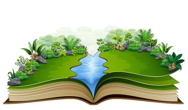 Open boek met rivier en groene plant van aardachtergrond
