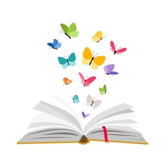 Open boek met vlinders. vector vlinder set vliegen over leerboek pagina's geïsoleerd op een witte achtergrond