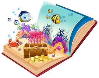 Open boek onderwaterthema
