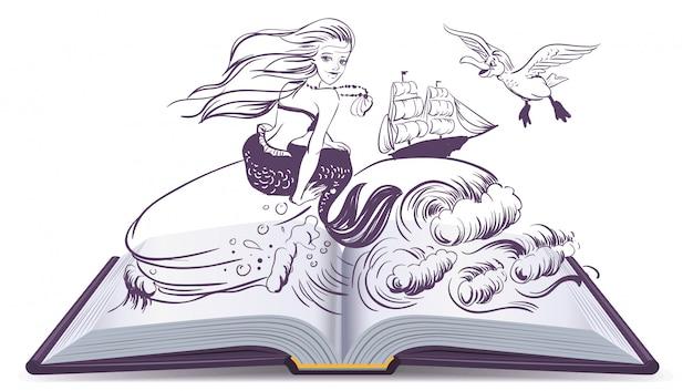 Open boek tale of mermaid. lezen ontwikkelt verbeelding